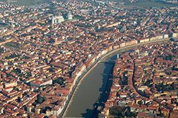 Top view of the center of Pisa, Italy