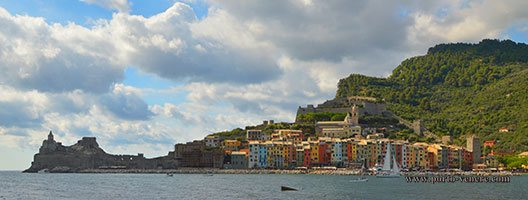 Panoramic view of Porto Venere from the island of Palmaria